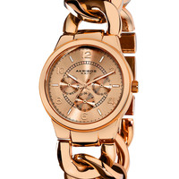 Akribos XXIV Women's Women's Twisted Rose Gold Watch - Rust/Copper