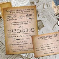 Wedding Invite and RSVP - Amabelle Vintage Elegant Personalized Card Suite