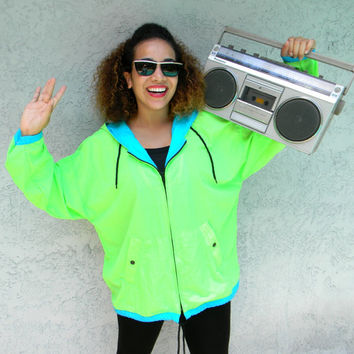 Vintage 80s 90s NEON Green Windbreaker Jacket - 80's 90's Hooded UNISEX Track Suit Top, Hip Hop Party Zip Up Bomber Hoodie, Womens XL Mens L