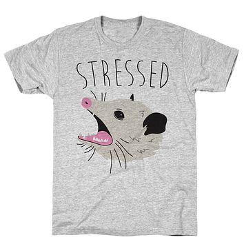 Stressed Opossum Athletic Gray Unisex Cotton Tee by LookHUMAN