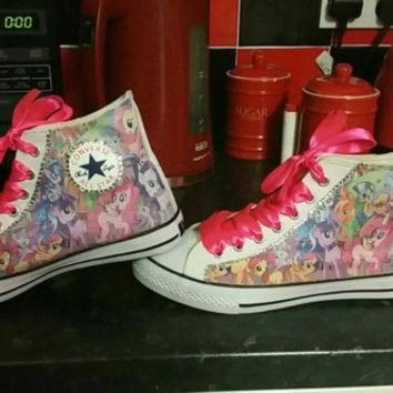 CREYUG7 My Little Pony Converse All Star Hi Tops Chucks Bling Sneakers Pink Purple Ribbon Lace