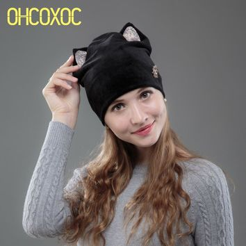 OHCOXOC New Design Women Beanies Skullies Girl Cute Autumn Winter Hat Cap With Cat Ears Shiny Rhinestone Metal Flower Cap