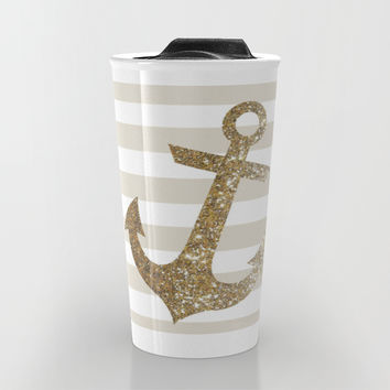 GLITTER ANCHOR IN GOLD Travel Mug by Colorstudio | Society6