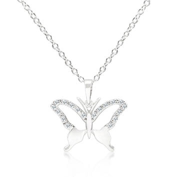 Cubic Zirconia Butterfly Pendant Necklace