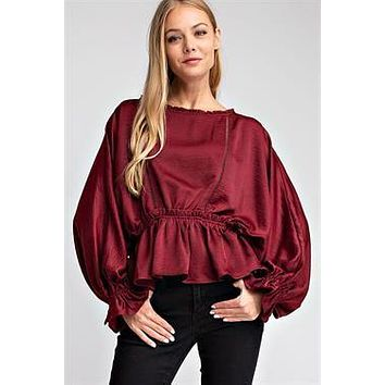 Ruffled Flounce Hem Top - Burgundy ONLY 2 Ms LEFT