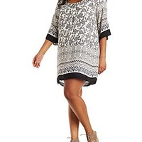 PLUS SIZE BORDER PRINT SCOOP NECK SHIFT DRESS