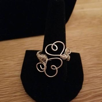 Wire Wrapped Double Heart Ring- Available in Bronze, Silver, Gold and Copper