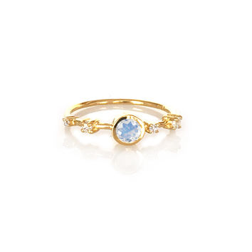 Rainbow Moonstone and Diamond Constellation Ring