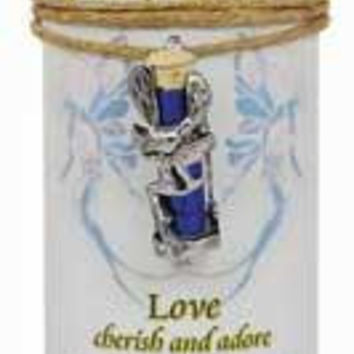 "Love Pillar Candle With Fairy Dust Necklace 6 1-2"" Tall"