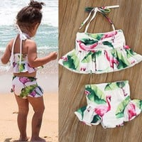 Toddler Kid Baby Girl Flamingo Tankini Swimwear Swimsuit Bikini Set Bathing Suit Cute 2018 New Kids Costume