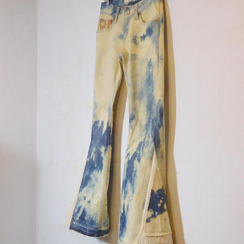 Levi Bell Bottom Jeans, Upcycled, 70s, Hippie Clothes, Bleached, Trashed, Frayed Hem, Bellbottom jeans, Levi 504, Slouch, Embroidery, Boho