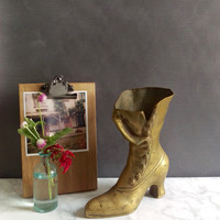 Brass Boot/ Vintage Brass Boot/ Victorian Boot/ Brass Boot Vase/ Boot Planter