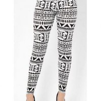 Black and White Monochrome Aztec Print Leggings