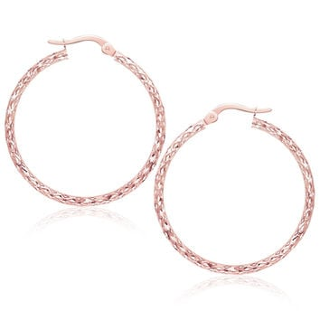 Large Textured Hoop Earrings in 10K Rose Gold