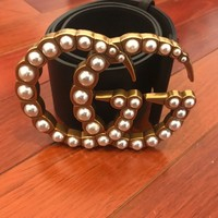 Wide leather belt with pearl Double Gucci Size (80) $1200 WITH OUT TAX