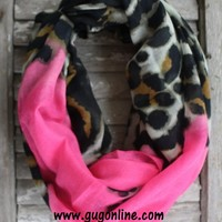Neon Pink and Cheetah Infinity Scarf