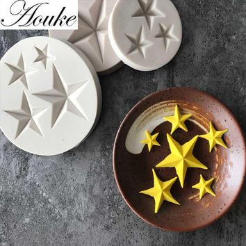 Aouke Stars Shape Silicone Mold Gumpaste Chocolate Fimo Clay Candy Molds Fondant Cake Decorating Tools DIY D187/D189