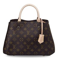 LV Women Shopping Leather Tote Louis Vuitton Montaigne BB Monogram Handbag Article: M410555