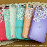 iphone 5 case, lace iphone 5 case, Romantic white lace and pearl trim Hard Case, six colors for choice