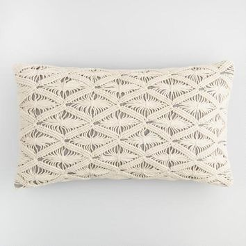 Macrame Gray Chambray Lumbar Pillow