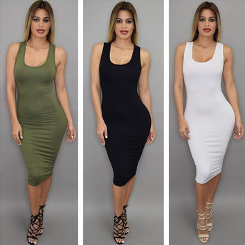 Summer Women's Fashion Sleeveless Vest Backless Sexy One Piece Dress [4919905476]
