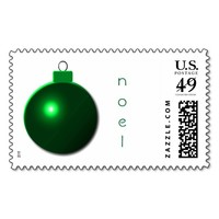 """""""Noel"""" Shiny Green Christmas Ball Ornament Postage Stamps"""