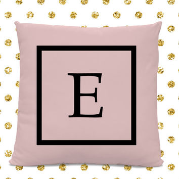 Initial Pillow - Letter Pillow - Pillow with Letter E - Monogrammed Pillow - Custom Throw Pillow - Pink Letter Pillow