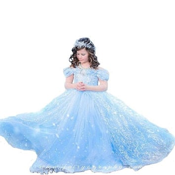 Christmas dress for girl chiffon Cinderella Elsa Princess Party Dress 3-10Y Summer New Year girl dress girl clothes
