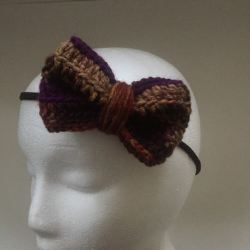 Wine Country Headband / Crochet Bow / Nylon Headband / Fall Headband / Child Headband