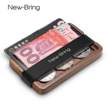 NewBring Handmade Wooden Wallet Men Multi-Functional Key Coin Purse and card holder