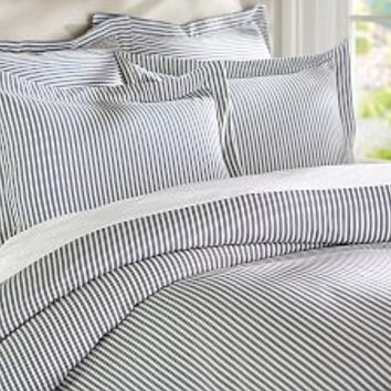 Thatcher Ticking Stripe Duvet Cover & Sham - Navy Blue