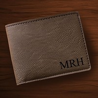 Personalized Leatherette Wallet Monogrammed Wallet Free Engraving