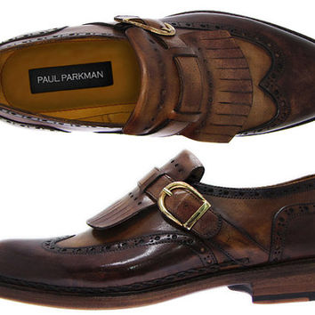 Paul Parkman Men's Wingtip Monkstrap Brogues Brown Hand-Painted Leather Upper With Double Leather Sole