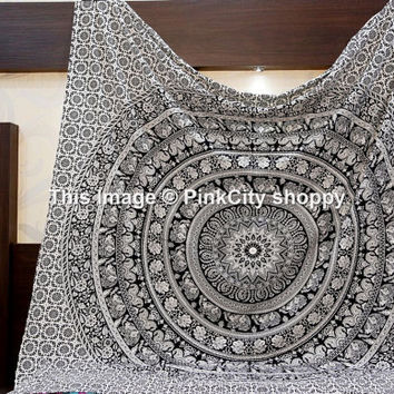 White Black Elephant Mandala Wall Tapestries Mandala tapestries Large bohemian tapestries Beach Throw Hippie Hippie Tapestries Decor art