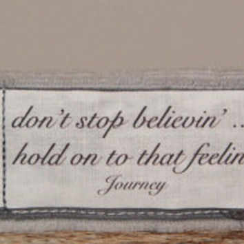 Music Jewelry Inspirational Jewelry Gypsy Jewelry Inspirtional Quote Bracelet Journey Jewelry don't stop believin