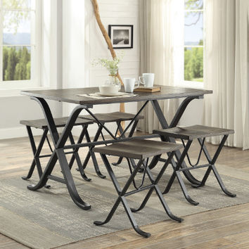 Homelegance HE-5592-5PC 5 pc Westerlyn dark metal legs burnished finish wood top dining table set