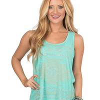 Cattlelac Ranch Women's Aqua with Aztec Studded Sleeveless Casual Knit Top