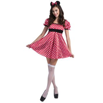 Girl Summer Dress Women Sexy Fashion Polka Dot Dress Mini Short Sleeve Princess Dresses Mouse Role Play Clothes for Lady