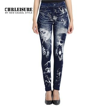 CHRLEISURE Elasticity Women Leggings Vintage Character Wolf Print Denim Pants Stretchy Jeans Trousers Big Size Leggins Jeggings