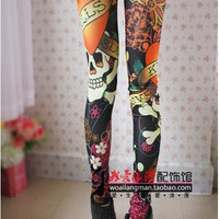 Vintage Skull printed  tattoo Leggings