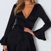 Into You satin flared sleeves peek-a-boo back mini wrap dress in black