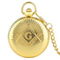 Golden Masonic Quartz Pocket Watch