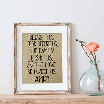 Dinner Prayer | Amen | Dinner Blessing | Dining Room Decor | Kitchen Decor | Burlap Art | Bless This Family | Gallery Wall | Religious Art