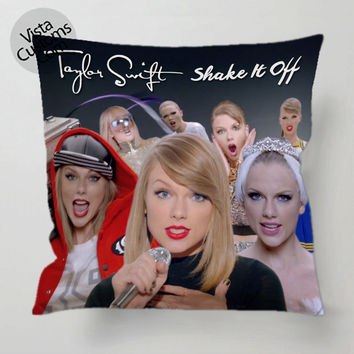 Taylor Swifts Shake It Off Collage   Copy pillow case, cover ( 1 or 2 Side Print With Size 16, 18, 20, 26, 30, 36 inch )