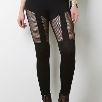 Stretchy High Waisted Fishnet Inset Leggings