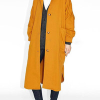 Yellow Longline Trench Coat with Pockets