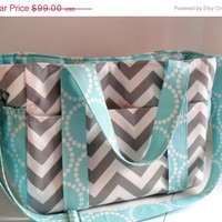 SALE Custom Made Extra Large Diaper bag Made of Chevron Fabric / You Pick Colors