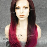 """24 inch Heat Safe Synthetic Straight Texture Lace Front """"Aphrodite"""" in Burgundy Ombre"""