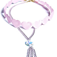 Suzywan Deluxe Be Mine Heart Choker Pastel Pink One