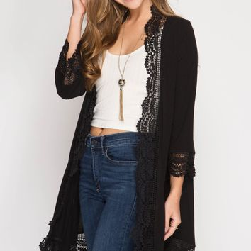 Black Lace Trimmed Cardigan